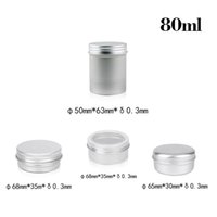 Wholesale garage storage containers - 80ml Empty Aluminum Cream Jars Tins Cosmetic Lip Balm Containers Nail Derocation Cans Crafts Storage Pots Bottles