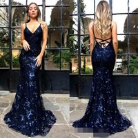 Wholesale spaghetti strapped black long dress online - New Spaghetti Straps Evening Dresses Sequined Lace Mermaid Cheap Prom Dresses Long Backless Criss Cross Formal Party Evening Gowns