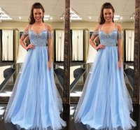 Wholesale romantic shorts online - 2018 Romantic A Line Prom Dresses Sweetheart Spaghetti Off Shoulder Zipper Sweep Train Evening Dresses Prom Gowns