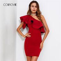 ingrosso un vestito da spalla vestito vestito-COLROVIE Red Ruffle Flounce One Shoulder Fitting Bodycon Summer Dress 2018 Slim Solid Women Dress Stretchy Party