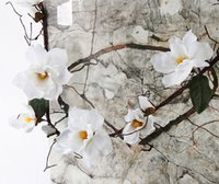 magnolias de seda al por mayor-Artificial Magnolia seda flor falsa sucursal Fleur Artificielle Flores arregle la boda de la tabla decoración del hogar accesorio del partido Df615
