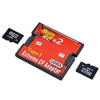 Wholesale micro sd cf adapter - 2017 Hight Quality Red Dual Slot Micro SD SDHC SDXC TF to CF Adapter MicroSD to Extreme Compact Flash Type I Card Converter