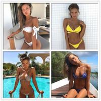 Wholesale Big Tits - 2018 New style Beach wear Sexy ruffle Bowknot Bandage Triangle Bikini Big tits&Small breasts
