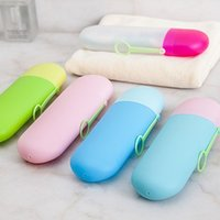 Wholesale toothbrush toothpaste case - Candy Colors Toothpaste Storage Box Durable Safe Plastic Toothbrush Organizer Save Space Hanging Toothbrushes Case Hot Sale 2 5kj B