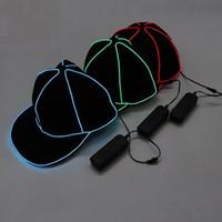 beyzbol süslemeleri toptan satış-Taşınabilir EL Tel Beyzbol Şapkası Düz LED Işık Hip Hop Şapka Parlayan Karanlık Için Snapback Parti Dekorasyon 38sy BB