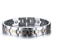 Wholesale 18k sample resale online - Mixed order almost free sample price men s stainless steel magnet bracelet magnetic stone bracelets fashion jewelry factory supplier