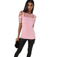 heiße orange rosa hemden großhandel-Neue Frauen Kurzarm T-Shirt Damenmode Rot Rosa Schwarz Aushöhlen Schlank Frühling Sommer Casual Hot Tees Tops