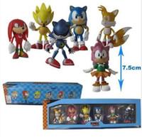 juguete plástico del bebé del cubo al por mayor-7 cm Envío gratis Sonic The Hedgehog 1 lote = 6pcs SEGA Figuras de juguete Pvc Toy Sonic Personajes Figura de juguete Acción Grande para regalo DHL GRATIS