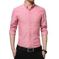 camisas de vestir oxford para hombre al por mayor-Primavera invierno para hombre camisas de manga larga Slim Fit Camisas de vestir Social Social Oxford Ropa Casual Clásico Hombre de negocios Esmoquin