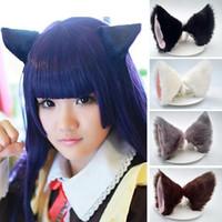 saç incircikleri toptan satış-2 adet Kedi Kulaklar Saç Klipler Hayvan Saç Hoop Süsleme Biblo bandeau Makyaj Aracı Kore saç aksesuarları festivali paskalya hediyesi