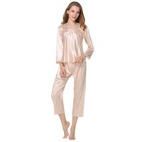 279f378bc7 Spiring Autumn Women Ladies Sexy Flower Lace Satin Silk Pajamas Sets Long  Sleeve Tops+Pants Sleepwear Femme Nightwear Pyjama New