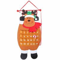 calendarios de adviento al por mayor-HD Navidad 3D Deer Calendar Advent 2018 Cuenta atrás Calendario Bolsillos Chrismas Interior Colgante Decoración Regalos para la familia