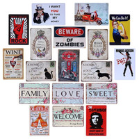 Wholesale Zombie Posters - Beware of Zombies Cat Dog Beer Cheers Family Welcome Wine Vintage Craft Tin Sign Retro Metal Painting Poster Bar Pub Signs Wall Art Sticker