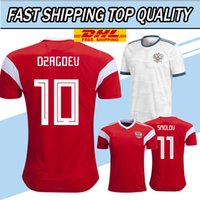 Wholesale Thai Wholesale Jersey - DHL free shipping 2018 world cup Russia Soccer Jerseys Home red away white Football uniform Thai Quality Kokorin Dzyuba Smolov Soccer Shirts