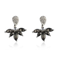 ingrosso orecchini doppio piercing-Bing Tu Double Side Black Crystal Stud Earrings Front Retro Ear Jacket Monili di moda femminile Piercing orecchino chaqueta mujer