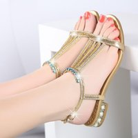 e468b8dd725118 Nnew Bohemian beach shoes with diamond sandals for women summer 2019 have  simple soft sister crystal flat heel and water diamond sandals fo