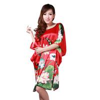 vestidos de dormir vermelhos venda por atacado-Vermelho Feminino Rayon Sexy Robe Vestido de Noite das Mulheres Vestido de Verão Sleepwear Roupão de Banho Vestido de Flores Yukata 030710