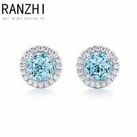 hakiki zirkon küpeler toptan satış-RANZHI 100% 925 Ayar Gümüş Hakiki Takı Mavi Zirkon Yuvarlak Geometrik Küpe Moda Lady Zarif Küpe DIY Hediye