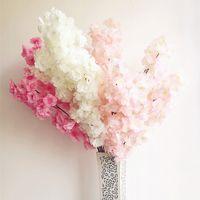 ingrosso albero artificiale falso-6pcs falso Cherry Blossom Flower Branch Begonia Sakura Tree Stem per evento Wedding Tree Deco fiori decorativi artificiali