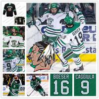 Custom 2018 UND Hawks  16 Brock Boeser NCAA North Dakota Fighting Sioux  Hockey Black Green White Stitched Any Number Name Jerseys S-4XL 0827a8b5a