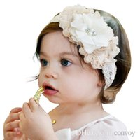 Wholesale wholesale shabby flowers elastic online - Baby lace headbands shabby flower hairbands handmade cute pearl head bands infant toddler elastic headwear children hair accessories KHA43
