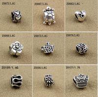 perles intercalaires mixtes européen achat en gros de-Mélange de Perles Fit Européen Bracelets Charmes Antique En Métal Argent Alliage de Zinc Charms BRICOLAGE Spacer Perles Fabrication de Bijoux 100pcs / lot