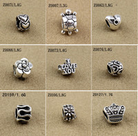 Wholesale Wholesale Spiked Bracelets - Mixed Beads Fit European Bracelets Charms Antique Silver Metal Zinc Alloy DIY Charms Spacer Beads & Jewelry Making 100pcs lot