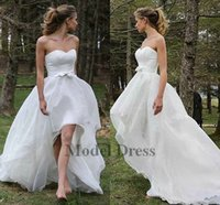 Wholesale long strapless dresses china for sale - Group buy High Low Wedding Gowns Short Front Long Back Strapless Simple White Country Bride Dresses with Bows Sashes Custom Made in China Discount