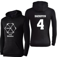 Wholesale Exo Pullover - KPOP EXO Monster Hoodies Women Men Harajuku Sweatshirt K-POP LUHAN XIUMIN CHEN SEHUN CHANYEOL Long Sleeve Fleece Hooded jacket