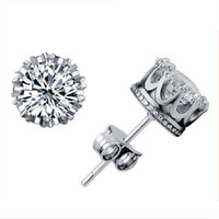 Wholesale Cz Ear Rings - Band New Crown Wedding Stud Earring 2018 New 925 Sterling Silver CZ Simulated Diamonds Engagement Beautiful Jewelry Crystal Ear Rings