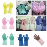 Wholesale bedding care resale online - Magic Silicone Dish Cleaning Gloves Eco Friendly Scrubber Washing Multipurpose Glove Kitchen Bed Bathroom Tool Pet Care Grooming AAA1161