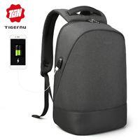 mochila para laptop tigernu venda por atacado-Tigernu USB de Carregamento À Prova D 'Água Anti Roubo Mochila de 15.6 polegada Laptop Mochila Multifuncional Mochilas para Adolescentes Homens