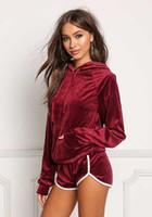 Wholesale motorcycle hooded sweatshirts - 4 Colors Women 2PC Casual Velvet Hooded Long Sleeve Sweatshirts and Short Pant Set