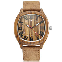 полосатые женские часы оптовых-Square Wood Watch For Men Roman Numerals Zebra Stripe  Quartz Wristwatches Men Women With Leather Strap Relogio Masculino