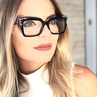 espejos cuadrados decorativos al por mayor-Oversozed Eye Glasses Frames para Mujeres Large Square Flat Mirror Rivet Ojos decorativos Glasses Stylish Men Accessories 95119FDY