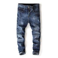 pantalones metrosexuales al por mayor-Moda marca nueva tendencia de mens pantalones agujero costura metrosexual hombre jeans Motocycle pantalones de mezclilla recta