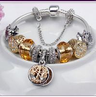 boncuklu plaka toptan satış-Moda altın lüks hayat ağacı kadın Bilezik Yaratıcı DIY boncuklu takı Alaşım gümüş kaplama parti hediyeler