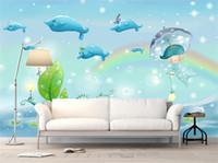fondo de pantalla de delfines bajo el agua al por mayor-3D estéreo mundo subacuático grande Mural Kids Room KTV tema Dolphin Wallpaper Bubble Swimming Pool océano fondo de pantalla