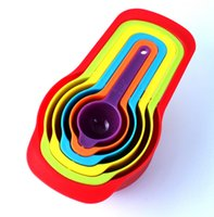 Wholesale quality coffee cups - 6PCS Rainbow Plastic Measuring Cups Spoons Set Home Tool Tea Coffee Measure Brand New Good Quality Free Shipping