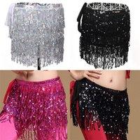 göbek dansı eşarpları toptan satış-3 Renkler Belly Dance Uzun Fringe Kalça Eşarp Dans Bel Kemeri Etek Sequins Püskül Kadın Kostüm