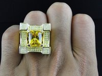 ingrosso solitario di oro giallo-Anello in oro giallo 18k placcato sopra gli uomini con cristalli di ghiaccio rosa chiaro con diamante solitario diamante smerigliato taglia 6-13 #