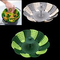 Wholesale Fold Cooking - Folding Lotus Steamer Basket Silicone Folding Non-scratch Food Cooking Steamer Fruit Vegetable Basket Steaming Food Vegetable Tools OOA4451