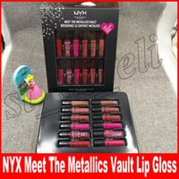 Wholesale lipstick waterproof nyx resale online - NYX Makeup Set Waterproof Long lasting NYX Liquid Lipsticks Meet the metallics Vault matte colors Pro Makeup for Lips