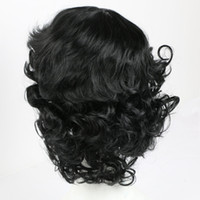 Wholesale afro hair party - Wavy Black Wig Synthetic Hair Wigs for Black White Women African American Women High Temperature Fiber Afro Party Cosplay Wigs