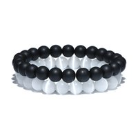 Wholesale natural opal bracelets - 2 Pcs Set Black White Natural Stone Beads Bracelet Sets Opal Gravel Elastic Beaded Couple Braclet For Men Women Hand Jewelry