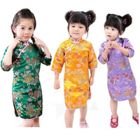 Wholesale children feathered dresses - 2018 Chinese New Year Baby Girls Dress Tribute Silk Kids Traditional Qipao Children Cheongsam Girl Dresses Clothes Vestidos Tops Skirts