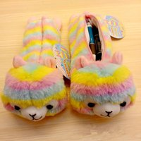 Wholesale baby table toys online - Baby rainbow stripe Alpaca Coin Purse Kids Plush Stationery bags Toy cartoon Pencil case cute Alpacasso wallet MMA748