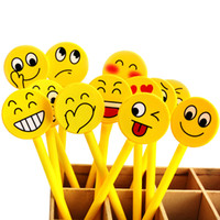 Wholesale Souvenirs Pens - Wholesale-12PCS Funny gel pen Emoji party favor Kids happy birthday party supply gift for girl boy souvenirs baby shower decoration