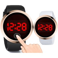 Wholesale new electronics for sale - Fashion round classic mens women touch screen LED watches rose gold dial ladies lovers couple business alloy electronic watches