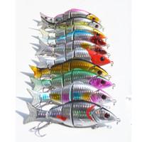 Wholesale hard plastic fishing lures online - Five Segment Hard Lure Simulation Fish Shape Plastic Bait Easy To Use Minnow Fishing Lures Portable ht UU